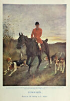 ANTIQUE VINTAGE PRINT STRAGGLERS FROM AN OIL PAINTING BY T. BLINKS HUNTING DOGS