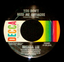 """BRENDA LEE """"YOU DON'T NEED ME ANYMORE/Bring Sunshine"""" DECCA 732491 (1969) 45rpm"""