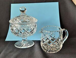 Vintage Webb Corbett 1950,s Diamond Cut Crystal Small Jug & Lidded Pedestal Bowl