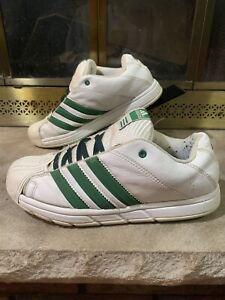 RETRO Adidas Low Top Basketball Shoe Sneaker WHITE Green RARE Mens Size 9.5