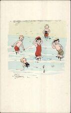 Jack Number - Kids Bathing Swimming Little Girl Bathing Beauty Postcard c1910