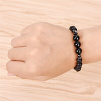 Mens Black Tourmaline Matte Agate Stone Protection Yoga-Beaded Stretch Bracelets