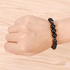 Mens Black Tourmaline Matte Agate Stone Protection Yoga Beaded Stretch Bracelets