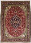 Floral Geometric Design Red 8X11 Handmade Vintage Oriental Rug Home Decor Carpet