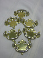 "Vintage 6 Drawer Pulls Pressed Brass 2 1/8"" X 1 5/8"" DIY Project Hardware"