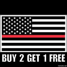 Firefighter Thin Red Line USA American Flag Car Decal Sticker