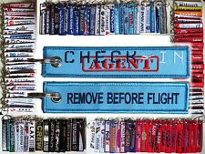 Keyring CHECK-IN AGENT for AIRLINES airport Remove Before Flight tag keychain