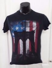Tony Hawk Bridge American Flag Skate Board Black T Shirt Small Vintage Print