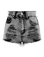 New Womens Hot Frayed Ripped Casual Pants Denim High Waist Sexy Shorts UK 6-16