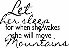 LET HER SLEEP Vinyl Wall Decal Quote Words Lettering Art Design Decor 10 x 10
