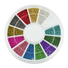 12 Farben Steels Beads Studs Nails Metal Caviar Design Wheel 3D Nail Art Zubehör