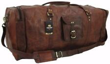 "Yuge Bear 32"" DS3 Vtg Genuine Leather Duffel XXL Large Travel Bag Luggage Trunk"