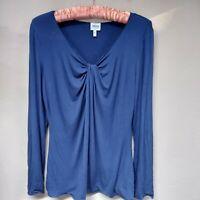 Armani Collezioni Women's Top Long Sleeve Blouse Shirt Twist Neck Blue Size 8