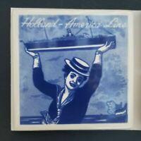 Holland America Line Blue Delft Holland Ceramic Tile Cork Coaster Rare