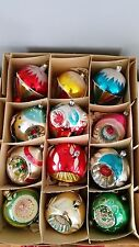 Vintage Triple Indent Balloon Finial Glass Christmas Ornaments Box of 12 Germany