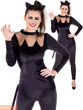 Ladies Black Cat Costume Halloween Catsuit Fancy Dress Womens Catwoman Outfit