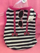 Dog Shirt-Tank Size XSmall NWT Black-White With Hot Pink In All The Right Places