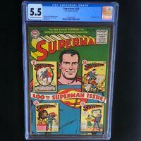 Superman #100 (1955) 💥 CGC 5.5 OW-W 💥 Anniversary Issue! Golden Age DC Comics