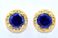 14Kt Yellow Gold Created Blue Sapphire & Diamond Round Stud Earrings