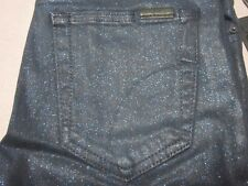 JOES JEANS WOMENS MID RISE SKINNY COATED INDIGO SPARKLER JEAN PANTS SIZE 25 NEW