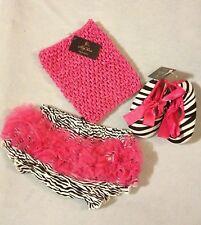 Zebra Bloomer Hot Pink Crochet Tutu Top, Crib Shoes, Birthday 3pc Set 6-9mth