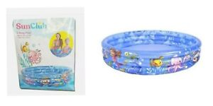 Paddling Pool 3-Ring Childrens Inflatable Seaworld Blue Colourful Fish Theme