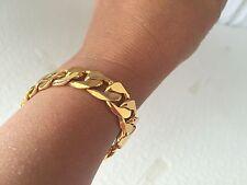 """Lifetime 12mm 7"""" 18K Yellow Gold Plated Chain Bracelet Bling Boy's Girls Gift"""