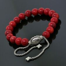 David Yurman Sterling Silver 8mm Red Coral Spiritual Beads Bracelet