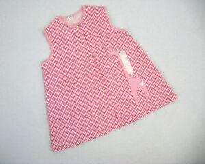 Vintage 1960s Girls Pink Gingham Giraffe Trapeze Dress Size 4/5