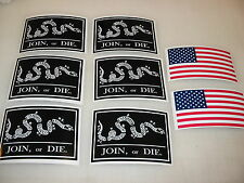 Black JOIN OR DIE FLAG Sticker Decal LOT 4 car Window Truck suv American Snake