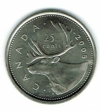 2005-P Canadian Brilliant Uncirculated Business Strike Twenty Five Cent coin!
