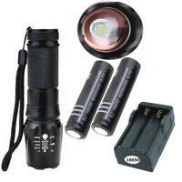 10000Lumens XM-L T6 Lamp Zoomable Tactical 360° Bike Mount Clip&18650 Torch