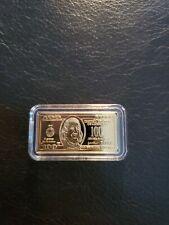 2010 5 Grams ,  Gold Bar $100  dollars  .999 FINE 24K Gold
