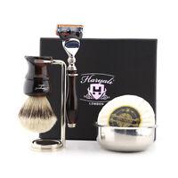 Silvertip Badger Brush 5 Edge Razor Bowl, Soap Men's Wet Shaving Luxury Kit New