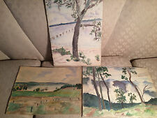 Rare Set Of Three Antique Frances Hall Herring Watercolor Paintings #2- Unframed
