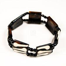 Africa Jewelry Mud cloth print Batik Bone Stretch Maasai Bead Bracelet 387-37A