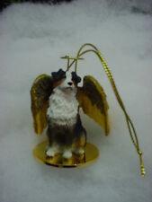 AUSTRALIAN SHEPHERD dog ANGEL Ornament FIGURINE Christmas TRICOLOR DOCKED AUSSIE