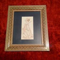 Superbe état grande peinture persane signé bel encadrement d'origine