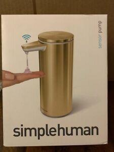simplehuman 9 oz. Rechargeable Sensor Soap Pump Dispenser Brushed Brass