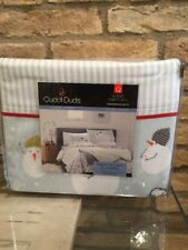 Cuddl Duds Queen Flannel Sheet Set Cotton Snowman Hats Christmas New