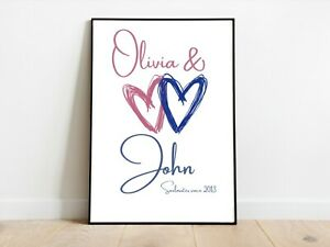 Personalised Couples Love Heart Art Prints Wall Art A3/A4/A5 Posters Gift Idea