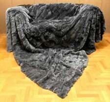 Luxury Real Gray Rex Rabbit Fur Throw Blanket