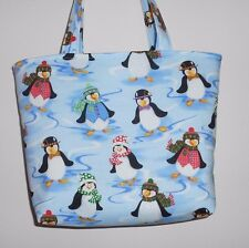 Handmade Christmas Penquins with Hats & Scarves & Vests  Tote Purse Bag