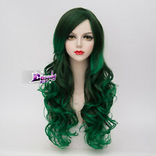 65CM Mixed Dark Green Long Curly Hair Lolita Women Ombre Anime Cosplay Wig