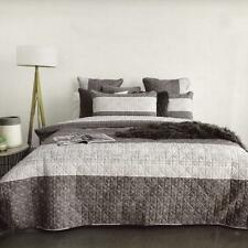 RYANE 100% Cotton Quilted White Grey King Quilt Cover Set Blend Doona Duvet NEW