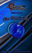 XGK067 Blue Metal Flake Guitar Knobs (3)