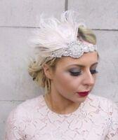 Cream Silver Feather Headpiece 1920s Headband Flapper Vintage Great Gatsby 4259
