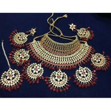 Meena Kundan Bridal Wedding Design Pearls Gold Plated Party Jewelry Necklace Set