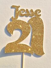 Double figures and 18th or 21st Birthday Glitter name&number cut out cake topper