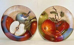 "Sakura David Carter Brown APPLE ORCHARD 8"" Plate Set of 2 Apples Bird Beige Red"